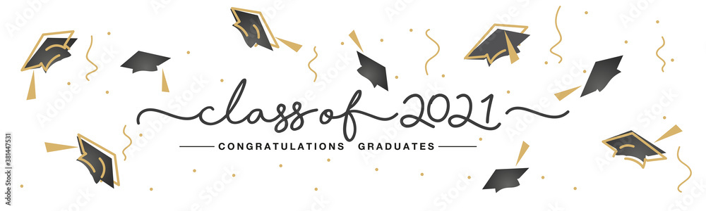 Fototapeta Class of 2021 handwritten typography lettering text Congratulations graduates line design gold black white isolated background banner