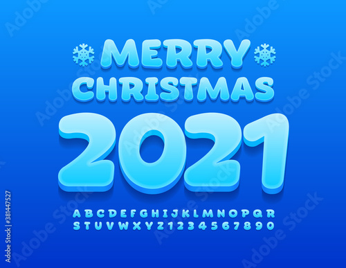 Fototapeta Vector card Marry Christmas 2020 with snowflakes. Modern blue Font. 3D trendy Alphabet Letters and Numbers set obraz