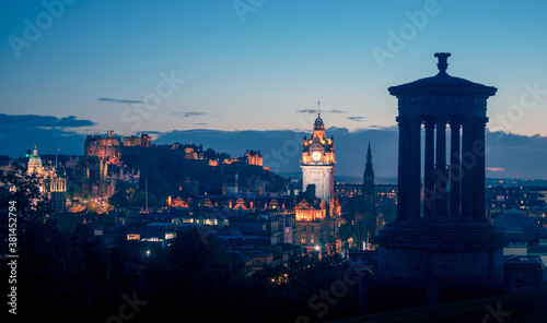 Vászonkép Edinburgh city skyline from Calton Hill., United Kingdom