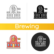 Pub Icon. Bar Front To Drink Ale. Beer Store. Alcoholic Beverage Shop. Brewery For Ale And Stout. Traditional British Diner. Linear Black And RGB Color Styles. Isolated Vector Illustrations