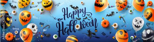 """carte ou bandeau sur """"happy halloween"""" en noir sur un fond bleu avec autour des ballon, citrouille, sorcière sur son balais, chauve souris, yeux"""