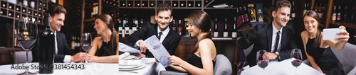 Foto Collage of elegant couple looking at menu, holding hands and taking selfie in re