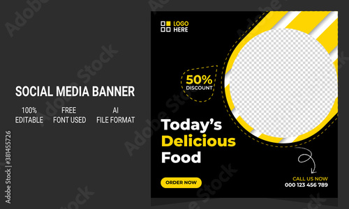 Cuadros en Lienzo Modern abstract creative today's delicious food restaurant promotional social media banner post template design layout with graphic elements