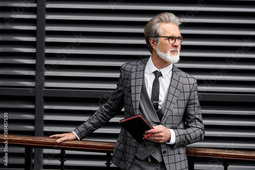 Photo serious 50-60 years businessman stand in contemplation outside, think about busi