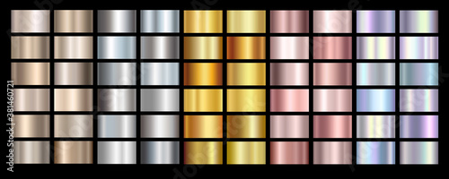 Gold rose, silver, holographic, bronze and golden foil texture gradation background set. Vector shiny hologram and metalic gradient collection for border, frame, ribbon, label design