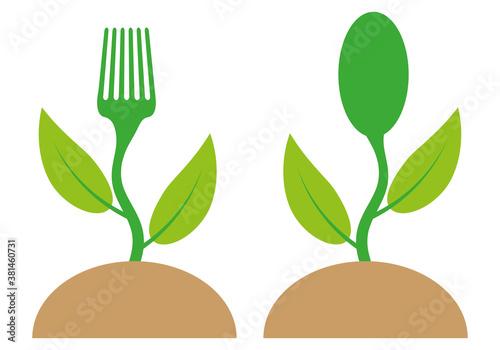 Obraz na plátně Brote verde de una planta en forma de tenedor y cuchara.