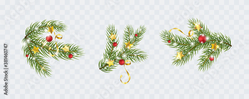 Fir branches with gold stars, lights isolated on transparent background. Pine, xmas evergreen plants elements. Vector Christmas tree green decoration set.