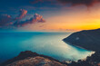 canvas print picture - Silhouette Asia sunset aerial ocean bay at mountain forest, beach coast of Koh Tao Island, Thailand. Epic Thai landscape at warm sun set tones at cloud sky. Exotic isle in romantic cinematic view