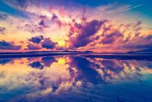 Asia Silhouette Sunrise Aerial...