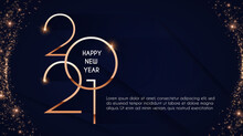Happy New 2021 Year Elegant Gold Text With Light. Minimalistic Text Template