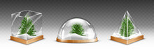 Snow Globes With Christmas Tree On Wooden Base Isolated On Transparent Background. Vector Realistic Mockup Of Crystal Balls With White Snow And Green Fir Inside. Glass Domes Different Shapes