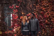 Interracial Couple Posing In A...