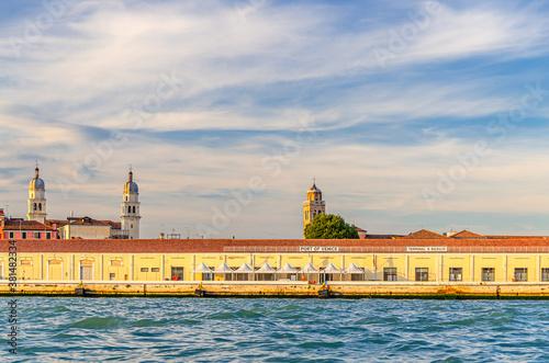 Port of Venice on embankment of Fondamenta Zattere in historical city centre Dorsoduro sestiere, view from water of Giudecca canal, Veneto Region, Italy