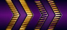 Abstract Elegant Dark Purple On Overlap Layer Background With Golden Gradient