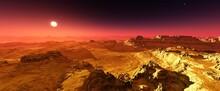 Mars At Sunset, Mars Surface, ...