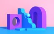 Abstract composition of geometric shapes in art deco style and podium for product showcase, multicolored shapes on a pink background, 3d render