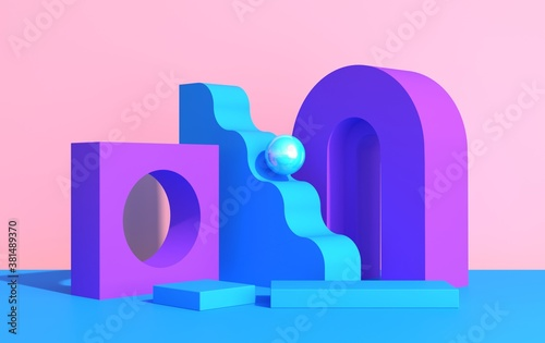 Fototapeta Abstract composition of geometric shapes in art deco style and podium for product showcase, multicolored shapes on a pink background, 3d render obraz