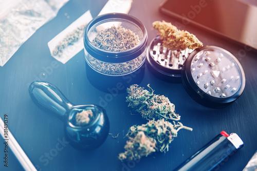 Photo CBD and THC on bud Cannabis legalisation.