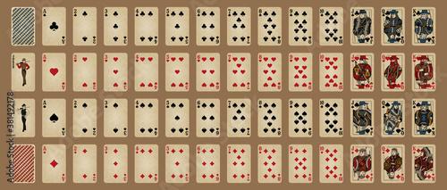 Fototapeta Western style poker set. Poker cards, full deck. obraz na płótnie
