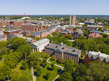 Brown University College Green Aerial View On College Hill In Providence, Rhode Island RI, USA. The Buildings Including Friedman Hall, John Carter Brown Library, University Hall, Etc.