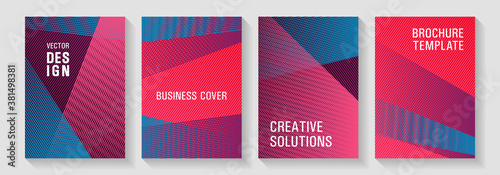 Fototapeta Brochure cover layouts halftone vector set. obraz