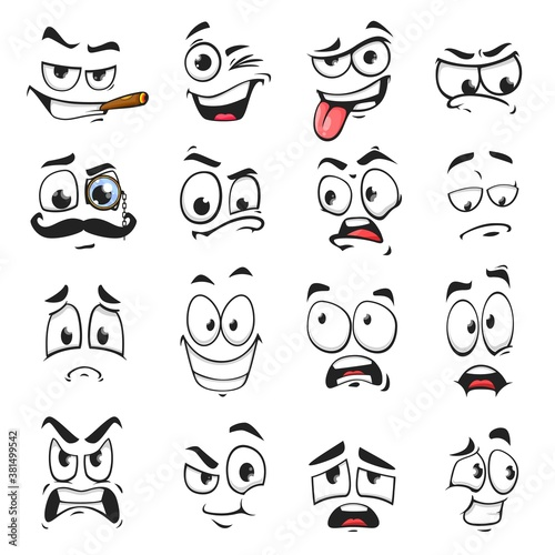 Face expression isolated vector icons, funny cartoon emoji smoking cigar, wink and sad, smiling, scared and wear monocle eyeglass with mustache. Cheerful, angry and show tongue face expressions set