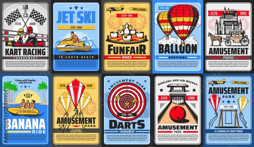 Canvastavla Amusement park posters, funfair rides and carousels, vector family entertainment fair