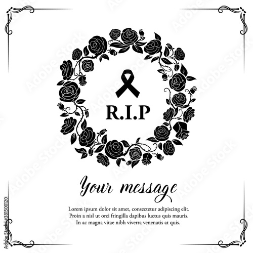 Canvas-taulu Funeral vector card with rose flowers wreath and flourishes with black mourning ribbon and RiP typography, retro frame