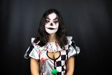 Woman In A Halloween Clown Cos...
