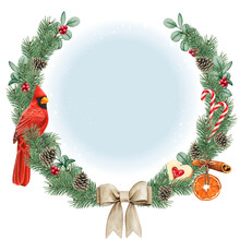 Watercolor High Quality Christmas Wreath With Red Cardinal Bird