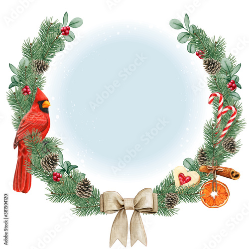 Obraz na plátne Watercolor high quality christmas wreath with red cardinal bird
