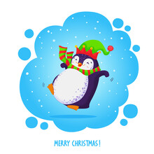 Cute Jumping Penguin In An Elven Hat And Striped Scarf. Merry Christmas Greetings.