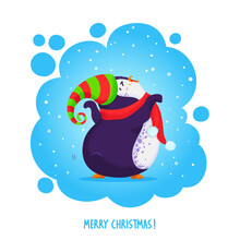 Cute Funny Dancing Penguin In An Elven Hat And Red Scarf. Merry Christmas Greetings. Vector Illustration In Cartoon Style.