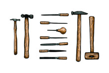 Collection Of Woodworking Tools, Craftsmanship And Handwork - Hand Drawn