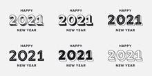 Set Of 2021 Happy New Year Log...