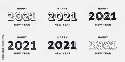 Fototapeta Set of 2021 Happy New Year logo text design. 2021 number typography text template. Collection of typographic creative vector 2021 New Years logo designs obraz