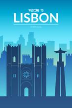 Lisbon, Portugal Famous City Scape View.