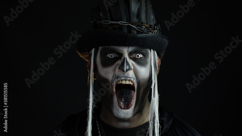 Fotografie, Obraz Frightening man in skeleton Halloween cosplay costume