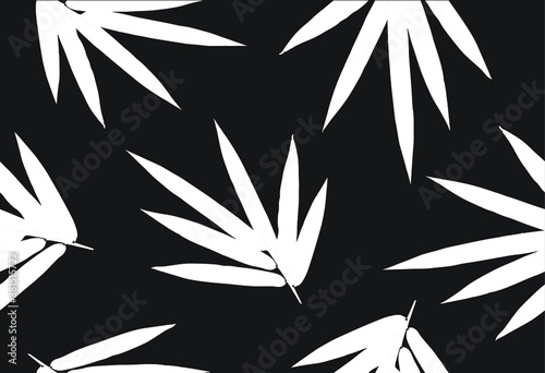 Fototapeta Bamboo leaf composition in design. Vector romantic landscape with bamboo trees on a white and gray background, and various attractive colors make an exclusive design  obraz