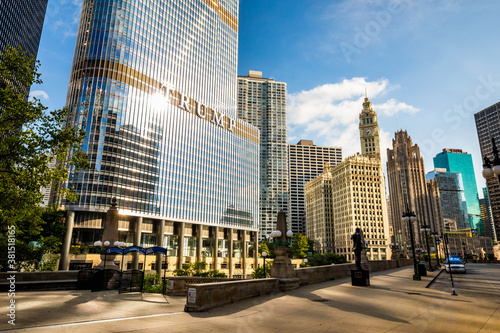 Chicago, IL / USA - 8/28/2020: Trump International Hotel and Tower in Chicago