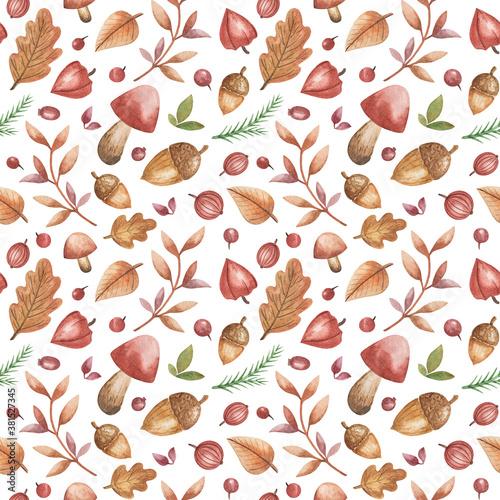 Autumn Forest seamless pattern, watercolor leaves,  acorns, mushrooms, foliage b Canvas Print