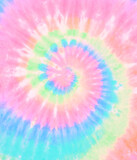 Fototapeta Tęcza - Spiral tie dye pattern. Swirl rainbow tie-dye wallpaper. Hippie boho tiedye texture backdrop. Pink blue green.