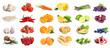 Assortment of organic fresh fruits and vegetables on white background. Banner design