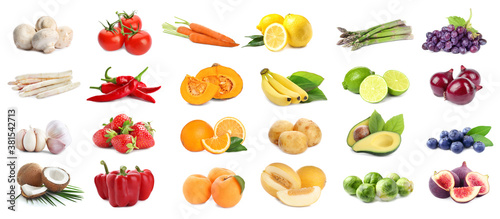 Fototapeta Assortment of organic fresh fruits and vegetables on white background. Banner design obraz