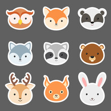 Set Of Cute Funny Animal Heads Stickers. Woodland Cartoon Animal Characters For Baby Print Design, Kids Wear, Baby Shower, Greeting And Invitation Card, Wall Decor. Flat Vector Stock Illustration