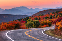 Winding Mountain Road And Autumn Landscape.