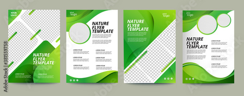 Fototapeta Vector eco flyer, poster, brochure, magazine cover template. Modern green leaf, environment design. - Vector	  obraz