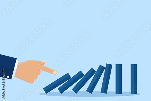 Fototapeta Concept businessman hand pushing the domino effect. Chain reaction concept. Successful intervention. Business metaphor. Vector illustration in flat style. obraz na płótnie