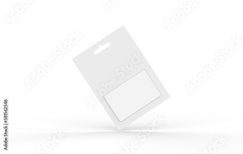 Fotografie, Tablou Gift card in blister pack mockup template on isolated white background, ready fo