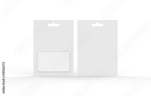 Slika na platnu Gift card in blister pack mockup template on isolated white background, ready fo
